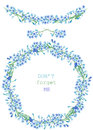Frame border, garland and wreath of the blue flowers of forget-me-not (Myosotis), painted in a watercolor on a white background, g Royalty Free Stock Photo
