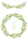 Frame border, garland and wreath of the tender pink spring flowers with the green leaves painted in a watercolor