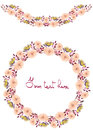Frame border, garland and wreath of yellow and tender pink flowers and branches