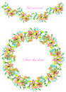 Frame border, garland and wreath of yellow and tender pink flowers and branches with the green and blue leaves painted in waterco