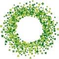 Frame or border of random scatter clover leaves