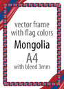 Frame and border of ribbon with the colors of the Mongolia flag