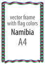 Frame and border of ribbon with the colors of the Namibia flag
