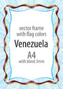 Frame and border of ribbon with the colors of the Venezuela flag