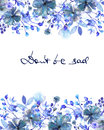 Frame border, template for postcard with dark blue flowers and branches with the blue leaves painted in watercolor on a white bac