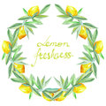 Frame border, wreath of yellow lemons on the branches with green leaves painted in watercolor for greeting card