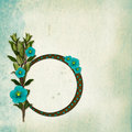 Frame with bouquet on old grunge background Royalty Free Stock Images