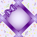 Frame with bow on birthday theme backgr Royalty Free Stock Image