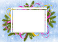 Frame with branches,ribbon on the blue background Royalty Free Stock Photos