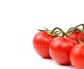 Frame bright red tomatoes isolated on a white background Stock Photos