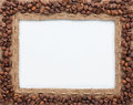 Frame of burlap and coffee beans Royalty Free Stock Photo