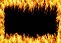 Frame of burning fire. Flame with smoke over black background Royalty Free Stock Photo