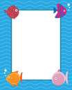 Frame with cartoon fishes Royalty Free Stock Photos