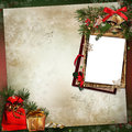 Frame with christmas decorations on a vintage background and Stock Photography