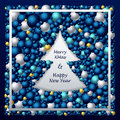 Frame in Christmas Tree form from balls in dark blue silver gold Royalty Free Stock Photo