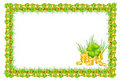 Frame with clover & ribbon and coins Royalty Free Stock Photos