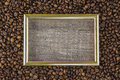 Frame coffee bean with pictures beautiful background view from side wooden table. The concept Royalty Free Stock Photo