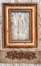 Frame with coffee beans and burlap ribbon Royalty Free Stock Photo