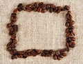 Frame of coffee beans on a sacking cloth Royalty Free Stock Photo