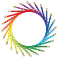 Frame of color pencils Royalty Free Stock Images