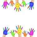 Frame of colorful hands painted with smiling faces fun joy happiness and good cheer baby child and adult joyful party or Stock Photo