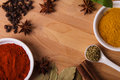 Frame composition of spices on wood Royalty Free Stock Image