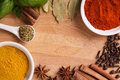 Frame composition of spices on wood Royalty Free Stock Photo