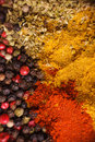 Frame composition of spices on wood Stock Images