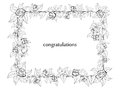 Frame for congratulation with roses