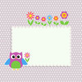 Frame with cute owl and flowers Stock Photography