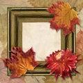 Frame with dahlia and autumn leaf