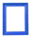 Frame de madeira azul da foto isolado no branco Fotografia de Stock Royalty Free