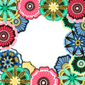 Frame of decorative flowers in the style of doodle