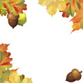 A frame of different autumn leaves and acorns. Ready template for your design. Vector illustration