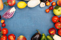 Frame of different fruits and vegetables Royalty Free Stock Photo