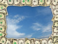 Frame from the dollars on the blue sky Royalty Free Stock Photo