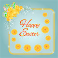 Frame easter eggs and daffodils turquoise background vector