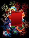 Frame with fantastic colorful ornaments around Stock Image