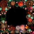 The frame of fire work Royalty Free Stock Photo