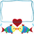 Frame with fish two cartoon Royalty Free Stock Image