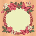 Frame with flowers and butterflies on a pink striped background Stock Photography