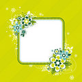 Frame with flowers on green background Stock Photo