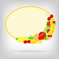 Frame with fresh fruits vector illustration Royalty Free Stock Images