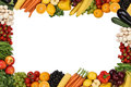 Frame from fruits and vegetables with copyspace vegetarian isolated Stock Photo
