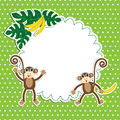 Frame with funny monkeys Stock Images