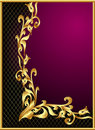 Frame with gold(en) pattern on violet background Stock Image