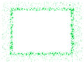 Frame green stars of twinkling sparkling on white background with empty copy space Stock Photography