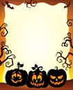 Frame with Halloween pumpkin silhouettes Royalty Free Stock Photo