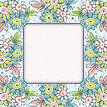 Frame of hand draw  flowers on blue background Stock Images
