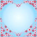 Frame Heart from flowers, red, pink, blue background, blue, heart-shaped, multicolored different, flowers, beautiful heart, intere